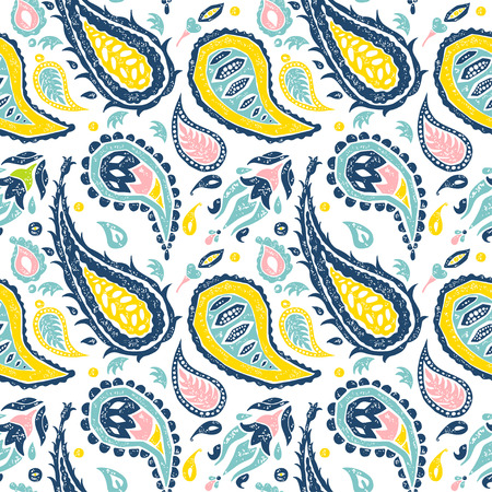 cypress tree: seamless pattern in a Paisley eco style in a white background