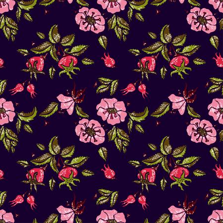 wildrose: Rose vector seamless pattern on dark blue background Illustration