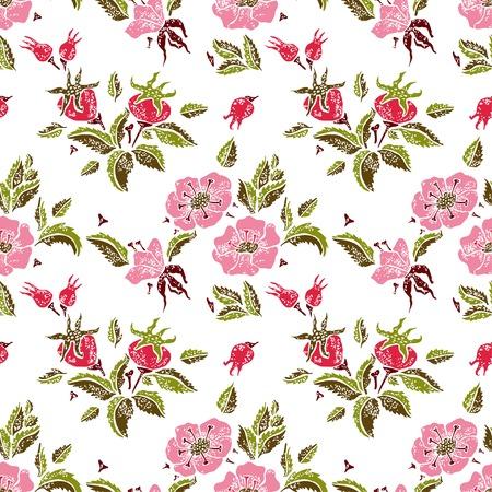 wildrose: Rose vector seamless pattern on white background