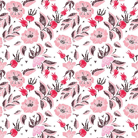 wildrose: Wildrose and leaves vector seamless pattern on white