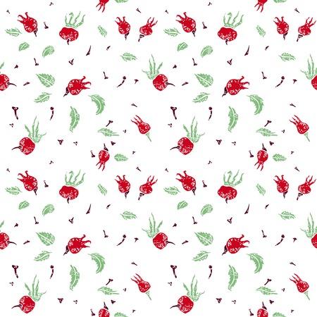 wildrose: Dogrose friuts vector seamless pattern on white Illustration