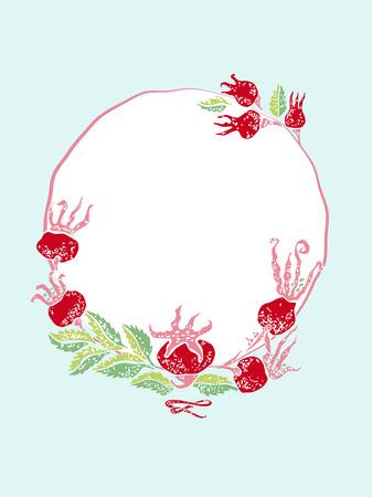 wildrose: Vector dogrose vintage frame for wedding or greeting card Illustration