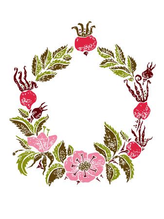 wildrose: Vector wildrose linocut frame for design birthday or wedding cards Illustration