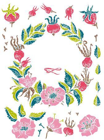 wildrose: Wild rose linocut vector set for hipster design Illustration