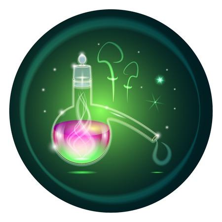 pocion: ilustraci�n vectorial. retorta verde con la poci�n m�gica Vectores