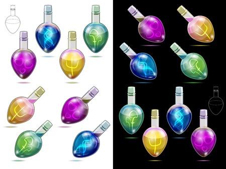pocion: Vector illustration. Potion kit for real magic life
