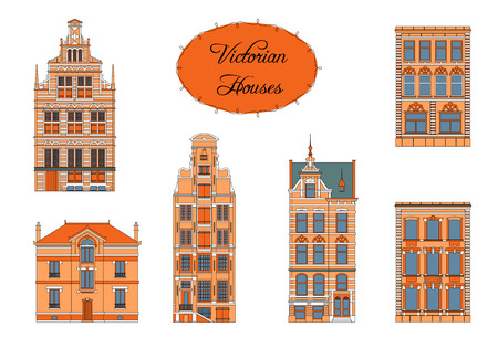 victorian house: Set of Vector Vintage Victorian Houses. Color drawing