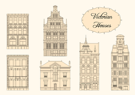 architecture drawing: Set of Vector Vintage Victorian Houses. Monochrome drawing
