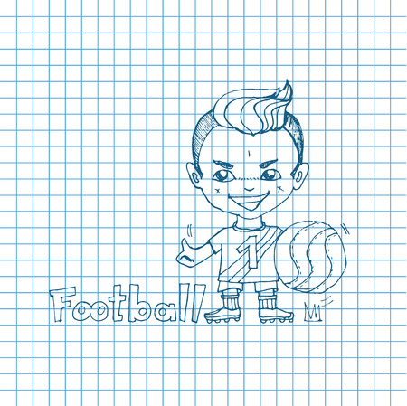 chibi: Vector sketch boy football-player in chibi style