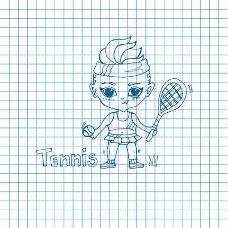 chibi: Vector sketch girl tennis-player in chibi style