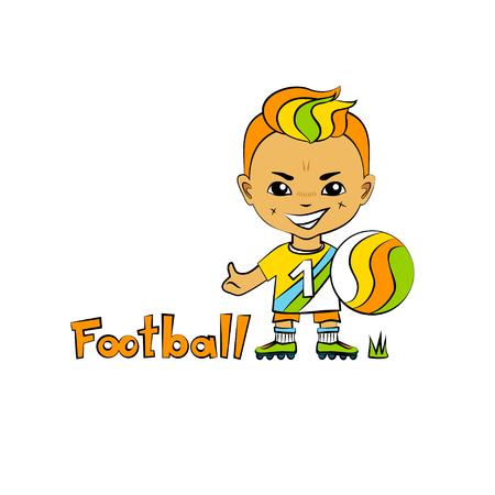 chibi: Vector cartoon boy football-player in chibi style