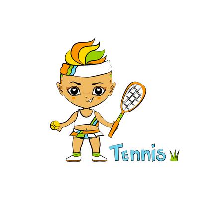 chibi: Vector cartoon girl tennis-player in chibi style