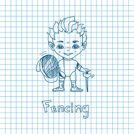 chibi: Vector sketch boy Fencer in chibi style