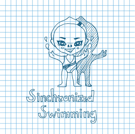 pool player: Vector sketch girl synchronized swimmer in chibi style Illustration