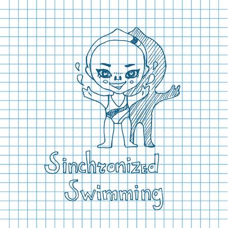 chibi: Vector sketch girl synchronized swimmer in chibi style Illustration