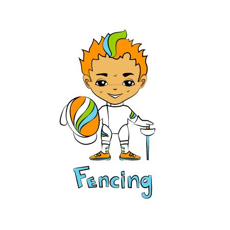 fencing sword: Vector cartoon boy fencer with a mask