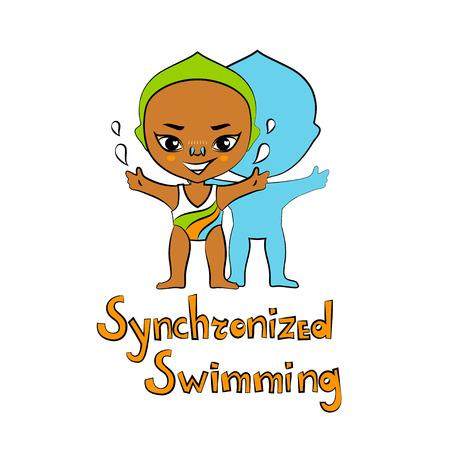 big head: Vector cartoon girl synchronized swimmer in big head style