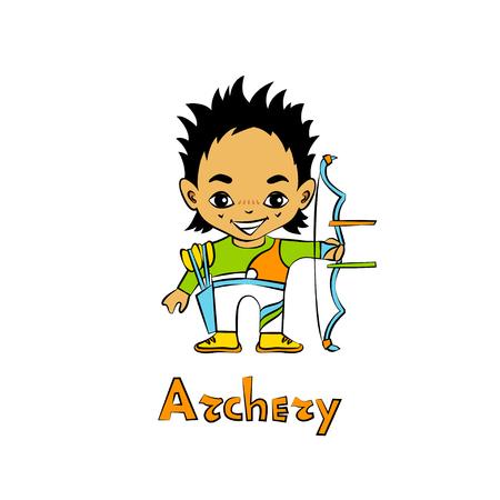 big head: Vector cartoon boy archer in big head style Illustration