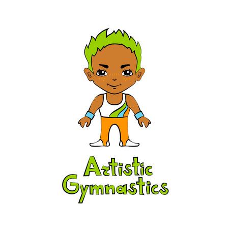 indoor sport: Vector cartoon boygymnast in big head style Illustration