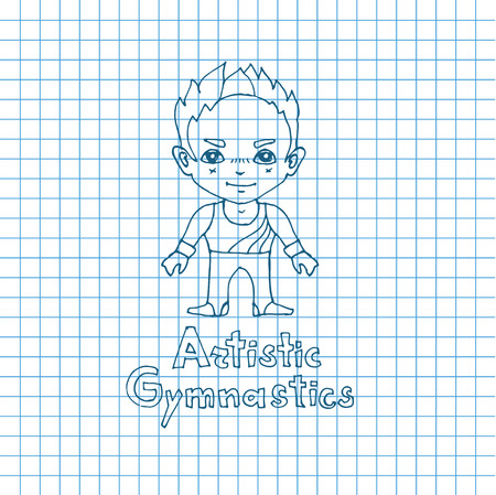 boy gymnast: Vector boy artistic gymnast in sketch sryle