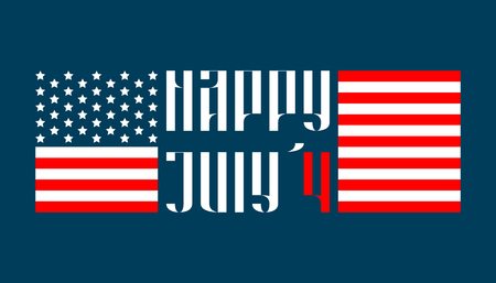 july 4: Happy July 4 traditional vector lettering in russian style