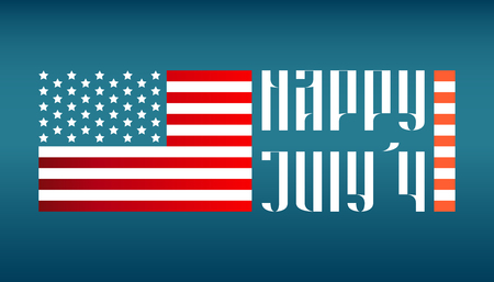 july 4: Happy July 4 traditional vector lettering with US flag