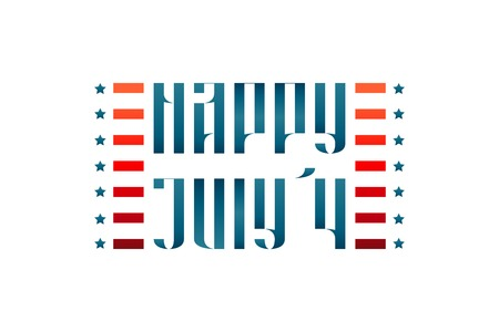 july 4: Happy July 4 medieval traditional vector lettering