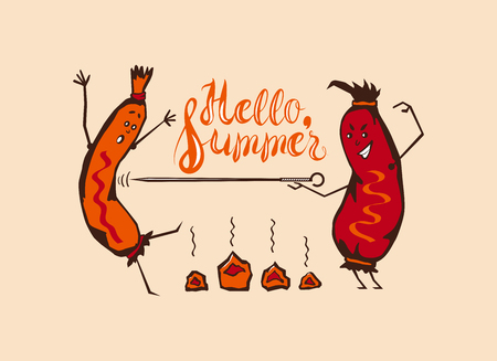 coals: Vector Cartoon Funny Summer barbecue, fencing sausages