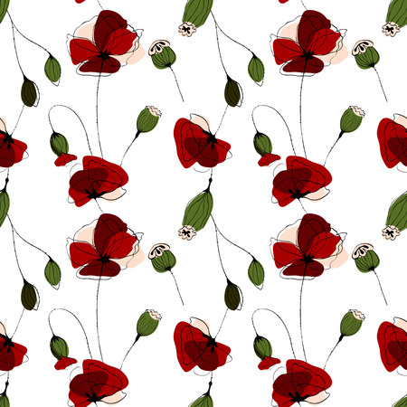poppy field: Poppy flower field vector seamless patternon white background
