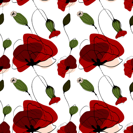 poppy field: Poppy flower vector summer seamless pattern, red and green