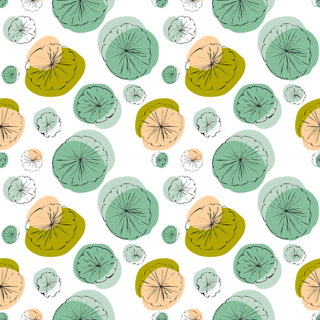 lily pad: Water Lily pad vector seamless pattern in line-drawing style Illustration