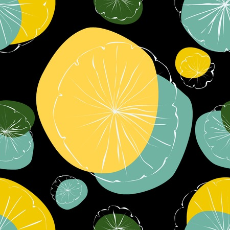 lily pad: Water Lily vector seamless pattern on black background Illustration
