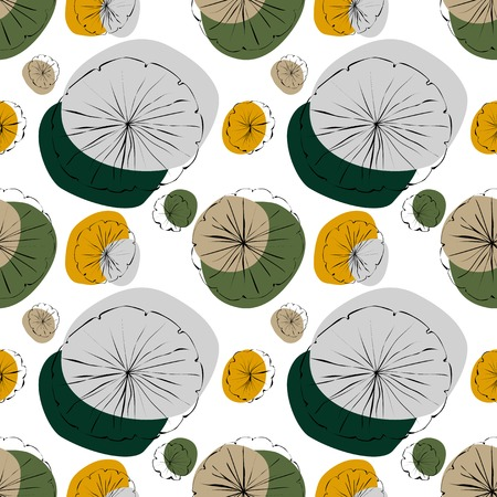 lily pad: Water Lily vector seamless pattern in japanese style