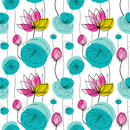 ink pot: Lotus flowers and pads vector seamless pattern, white background