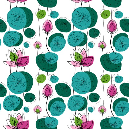 lily pad: Lotus flowers and pads vector seamless pattern