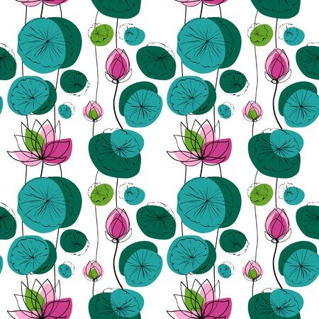 zen garden: Lotus flowers and pads vector seamless pattern