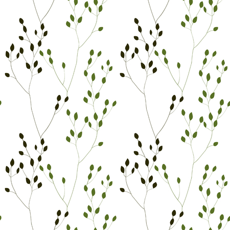 weeds: Romantic Weeds, vector seamless pattern on white Illustration