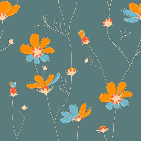 chamomile: Wild chamomile vector seamless pattern in pastel color scheme