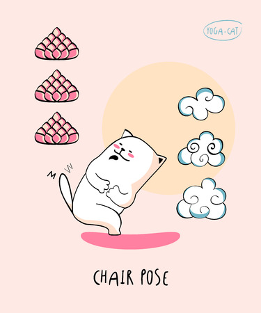 nirvana: Vector funni pic with Yoga Cat in Chair pose aka parivrtta utkatasana