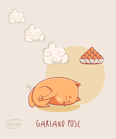 nirvana: Vector funni pic with Red Yoga Cat in Garland pose aka Malasana