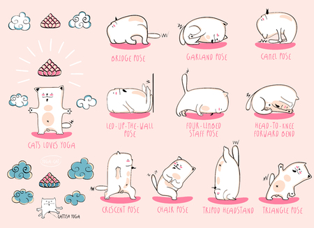 bodhisattva: White Yoga Cat, vector funny set of basic poses Illustration