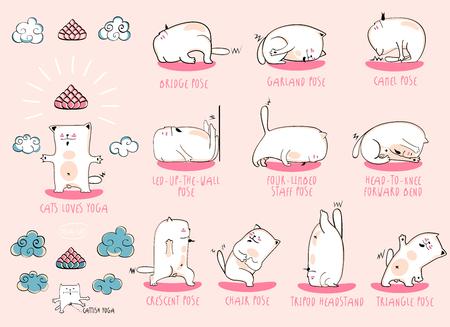 bodhisattva: White Yoga Cat, vector funny set of basic poses Illustration