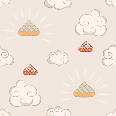 bodhisattva: Cartoon Oriental seamless pattern with lotus and clouds