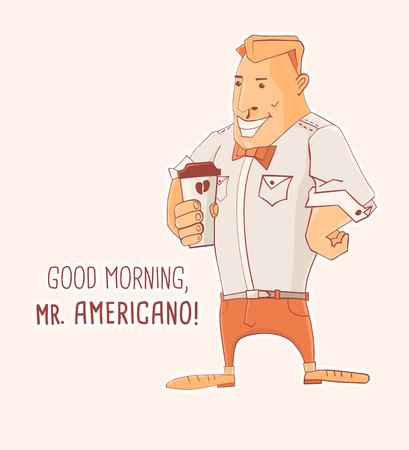 mister: Cartoon character Mister Caffe Americano, vector illustration