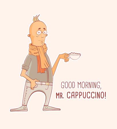 mister: Cartoon character Mister Espresso Coffee, vector illustration