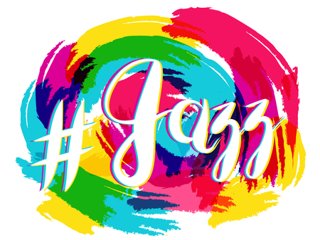 Vector Hashtag Jazz Lettering on Spot Background, yellow and blue