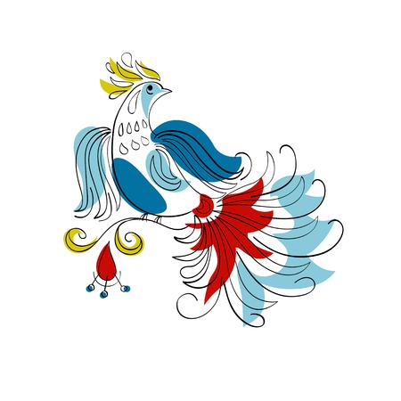 vector Fantasy Firebird in Russian ornamental style