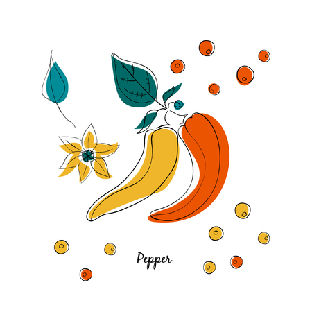Assorted Peppers vector illustration in cartoon style