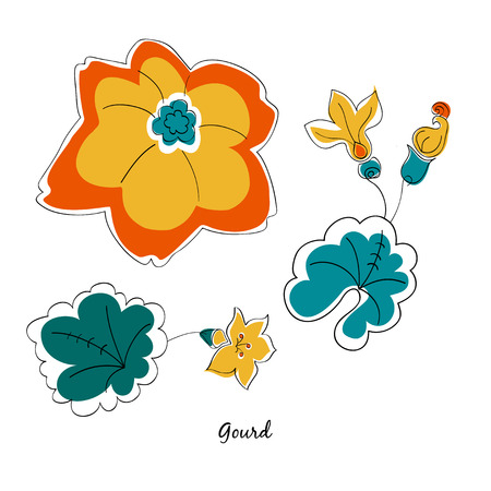 scallop: Vector scallop and leaves in cartoon style Illustration