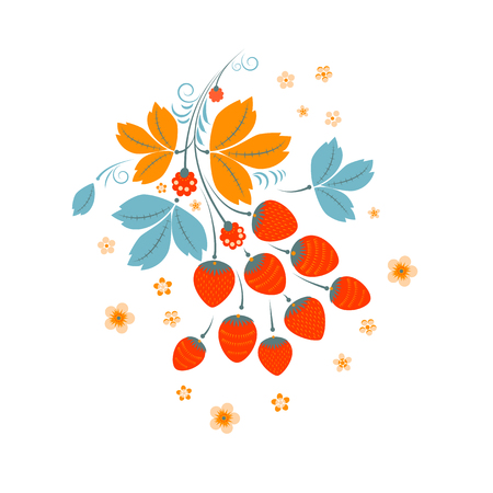 Floral Strawberry Pattern in Russian decorating style